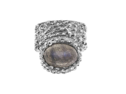Burnished Silver Ring with Labradorite