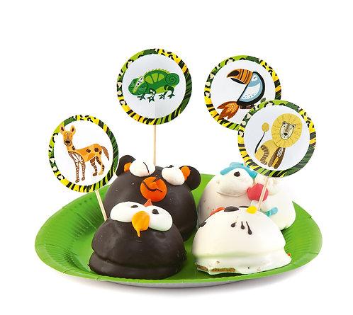 """Топперы для кексов и пирожных """"Сафари-парк"""", в наборе 8 шт"""