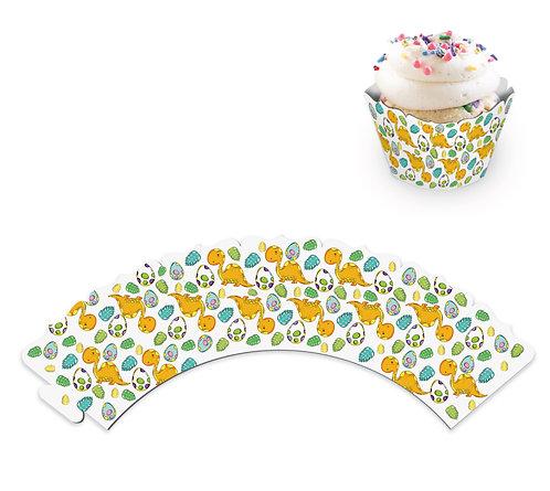"""Юбочки для украшения кексов и пирожных """"Динозаврики"""", в наборе 8 шт"""