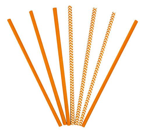 Трубочки для коктейлей оранжевые