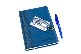 Флешка-визитная карточка, ежедневник, ручка. Корпоративные сувениры