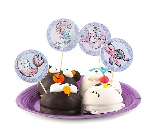 """Топперы для кексов и пирожных """"Русалочка"""", в наборе 8 шт"""