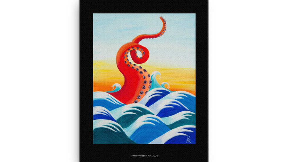 """Red Tentacle"" print on canvas"