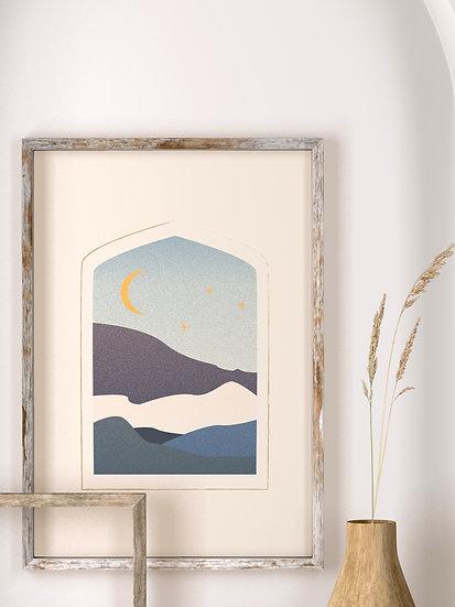 'Moon & Mountains' Print