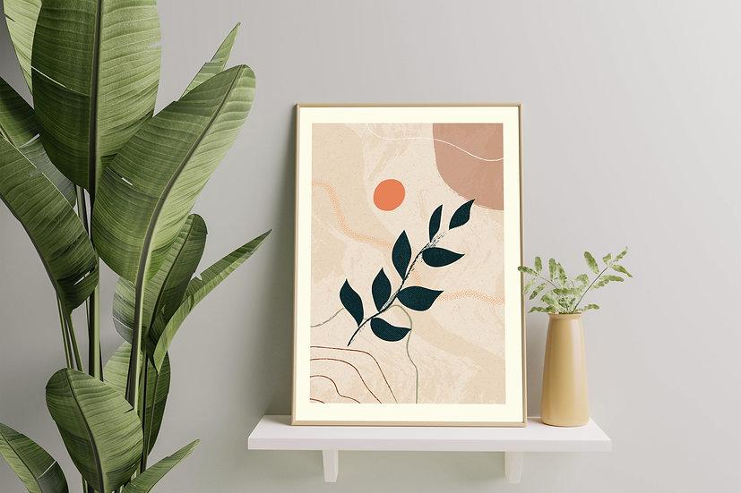 Modern Art 'Line & Leaf' Print