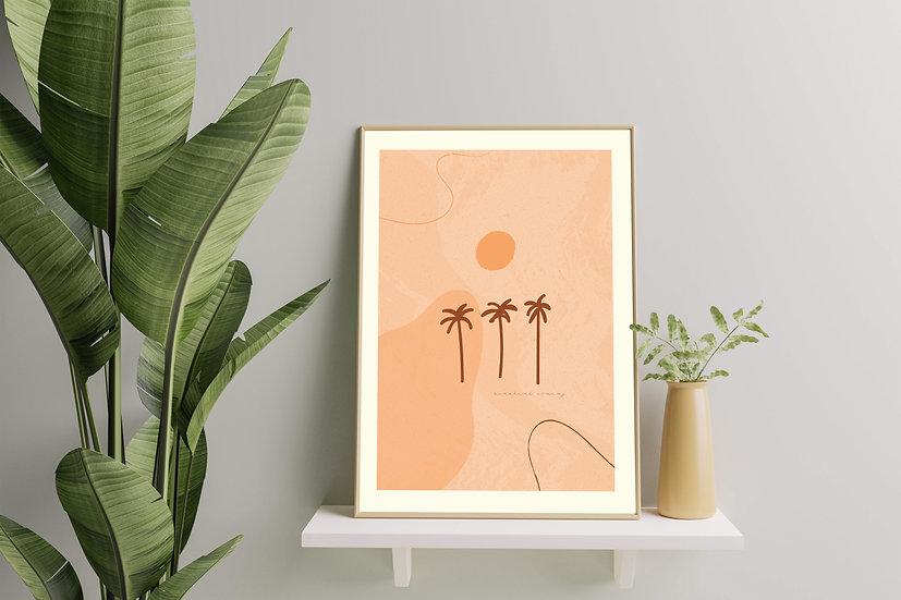 Modern Art 'Sun Palms' Print