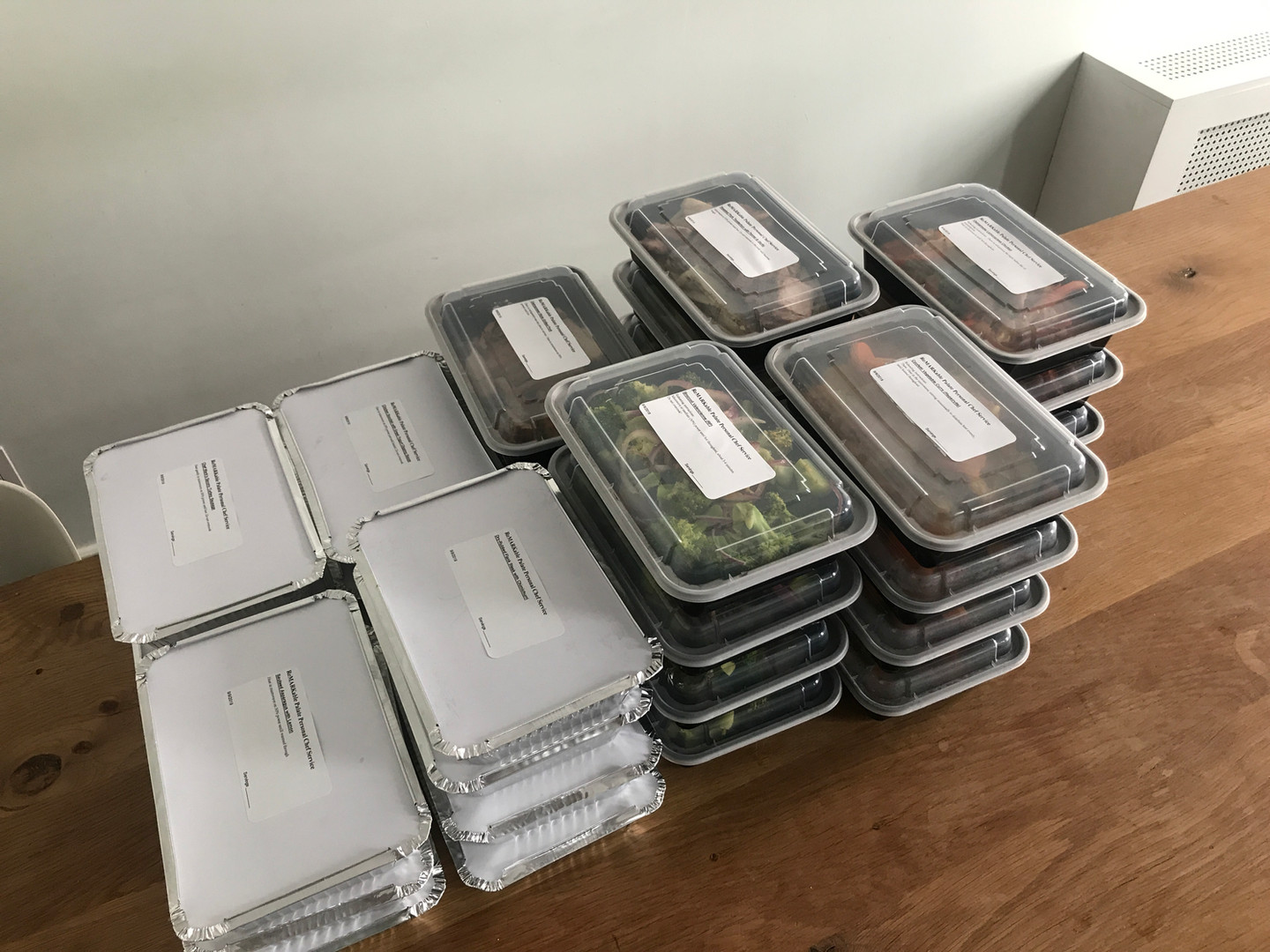 Dishes ready for the freezer!