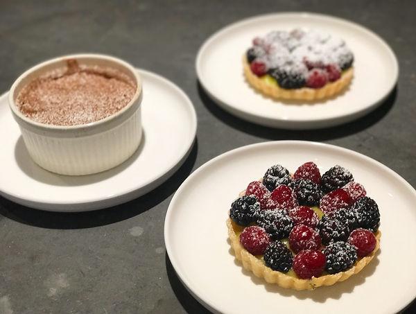 Mixed berry & vanilla cream tartlets and chocolate pots de creme