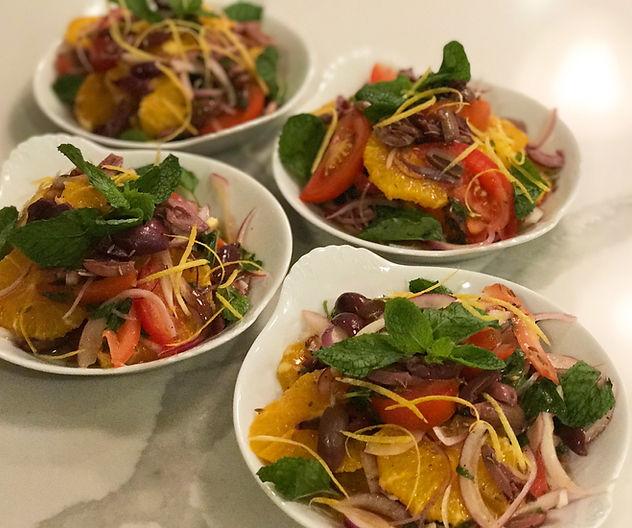 Mediterranean Orange, Tomato and Olive Salad with Mint & lemon zest