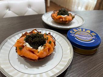 Caviar and Smoked Salmon Potato Nests