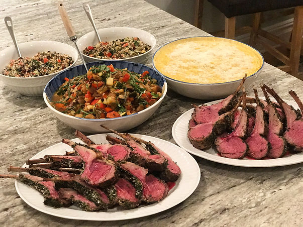 Medium Rare lamb chops, ratatouille and Polenta for a crowd