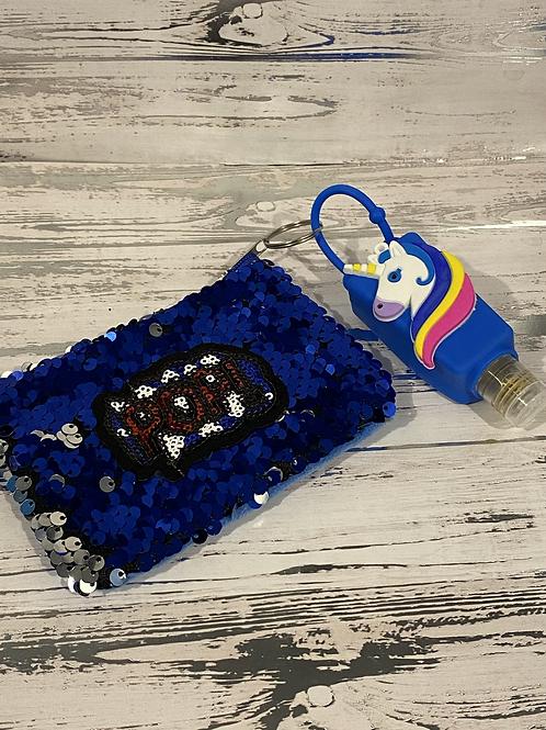 Sequins Mask Wallet and Unicorn Hand Sanitizer Set