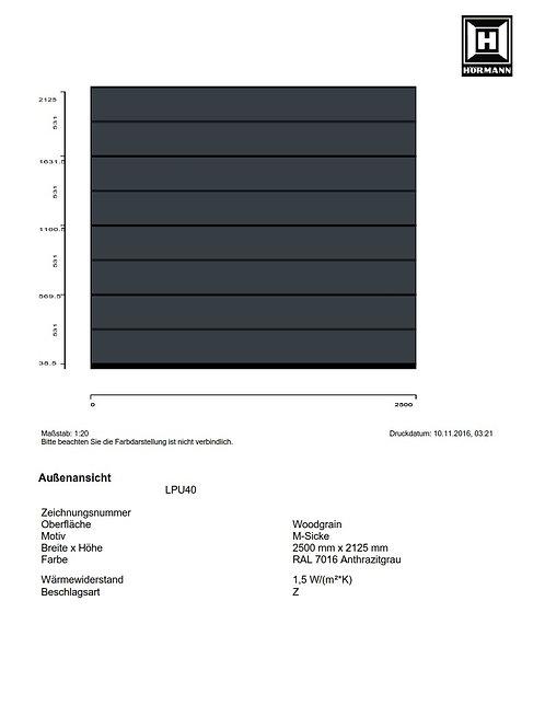 Hörmann Sektionaltor EPU40  2500 x 2125 mm