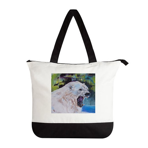 Amie Easton Designed Premium Tote Bags- Zippered closure Pola Bear Print