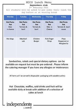 HCCS Keyworker club  Lunch menu 1st Febr