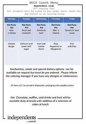 HCCS Keyworker club  Lunch menu 25th Jan