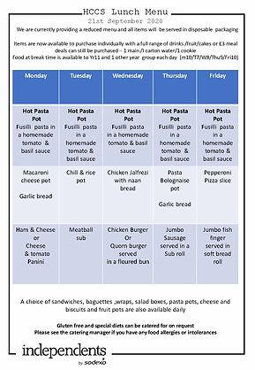 HCCS Lunch menuReduced service  21 Sept