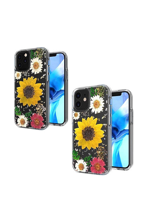 IP126.1-SUN - SUNFLOWER iPHONE 12Pro (6.1 ONLY) FLORAL GLITTER DESIGN CASE COVER