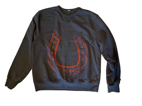 Real Buy Horse Shoe Black Sweatshirt  - Large