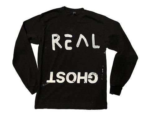 Real Ghost Long Sleeve T-Shirt Black - Medium