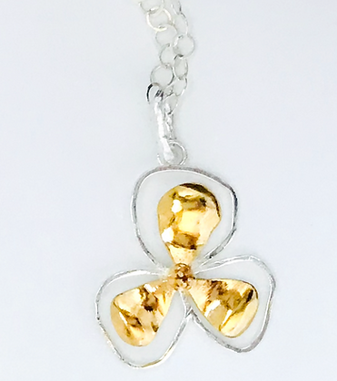 Bali Flower Pendant, Small Two Tone