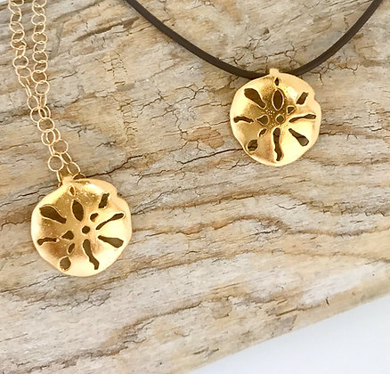 Small Gold Sand Dollar Pendant