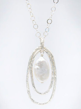 Double Oval Silver Necklace with Pearl - Small