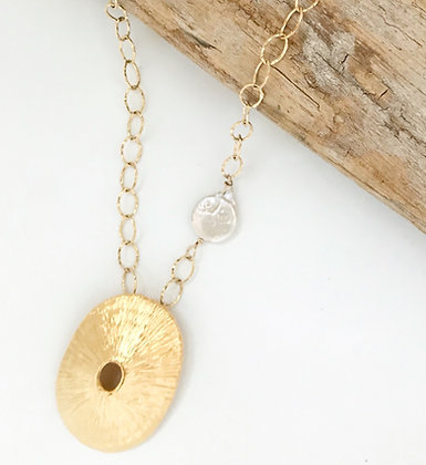 Gold Limpet Shell and Coin Pearl Necklace