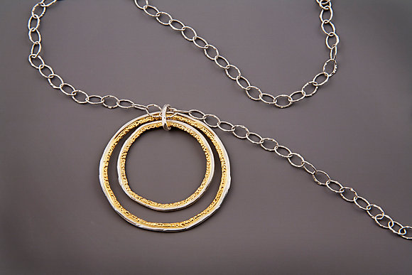 Two Tone Large Double Circle necklace