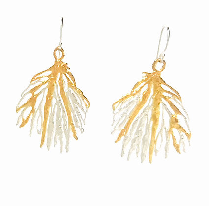 Medium Coral Earrings in Gold and Silver