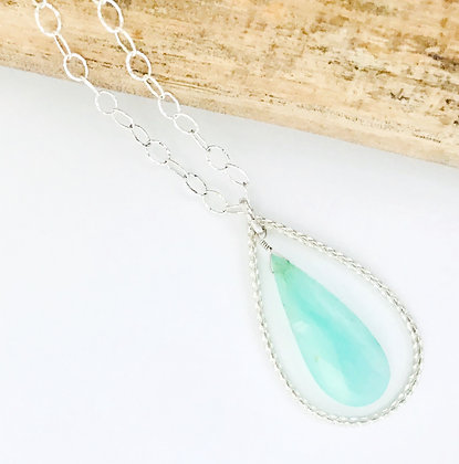 Large Silver Teardrop with Peruvian Opal