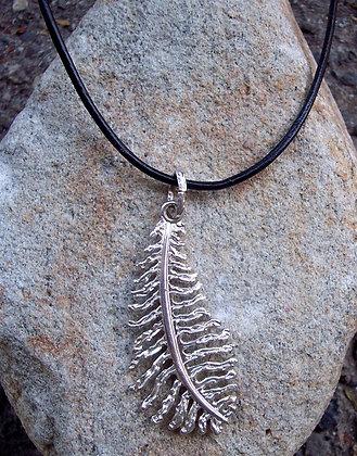 Large Fern Leaf Pendant on Leather