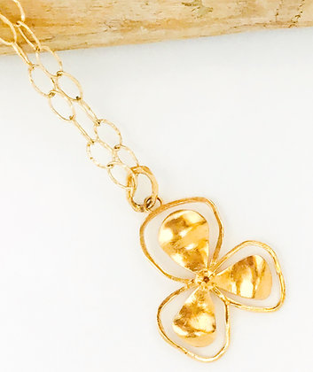 Large Gold Bali Flower Necklace