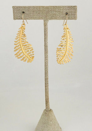 Medium Gold Fern Leaf Earrings