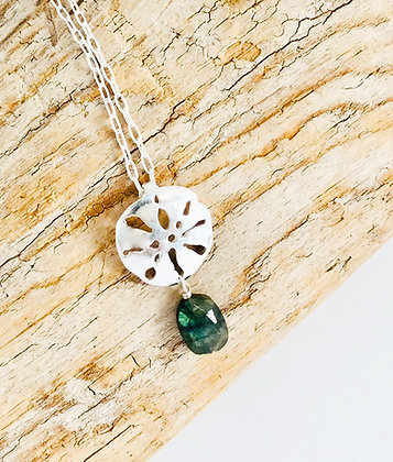 Small Sand Dollar Pendant with stone