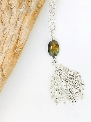 Silver Coral and Labradorite Pendant