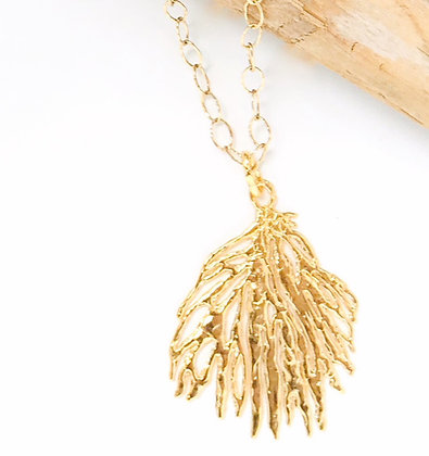 Large Gold Coral Necklace