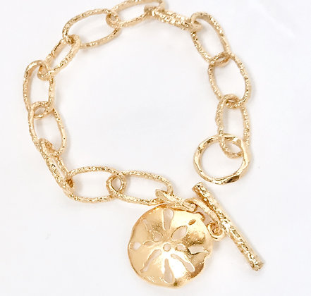 Gold Sand Dollar Charm Bracelet