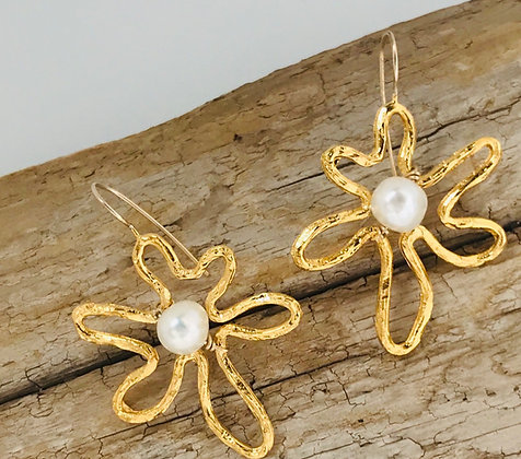 Gold Flower Earrings with Pearl