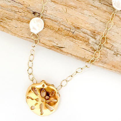 Gold Sand Dollar and Coin Pearl Necklace