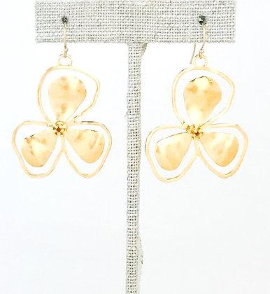 Large Gold Bali Flower Earring