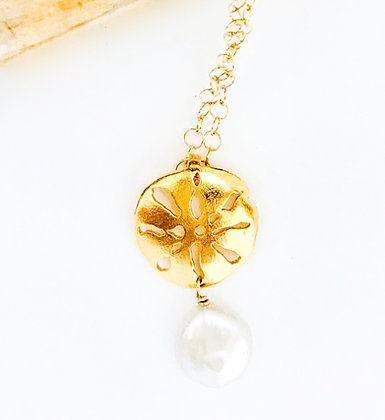 Small Gold Sand Dollar Pendant w/Pearl