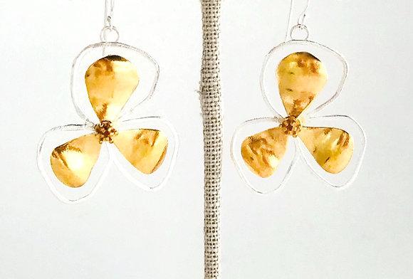 Bali Flower Earrings, Large Two Toned