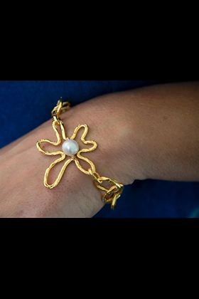 Gold Flower & Pearl Bracelet
