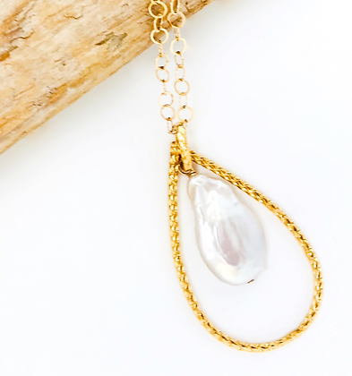 Medium Gold Teardrop and Freshwater Pearl Necklace