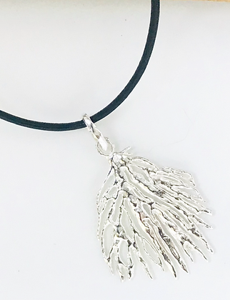Coral Pendant on Leather - Medium