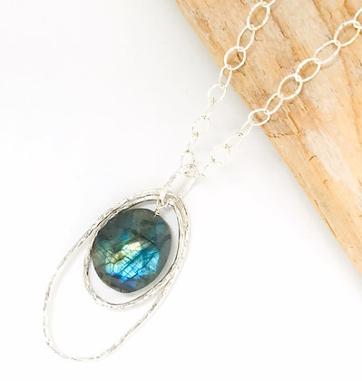 Double Oval and Labradorite Pendant - Large