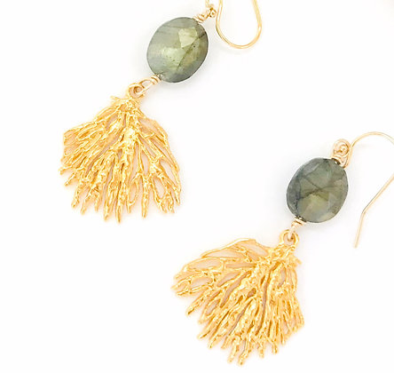 Gold Coral and Labradorite Earrings