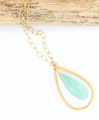 Large Gold Teardrop and Peruvian Opal Necklace