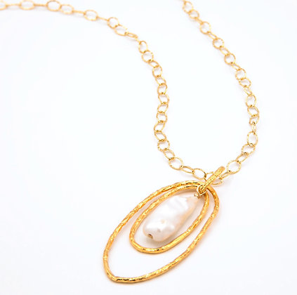 Double oval Necklace - Large Gold